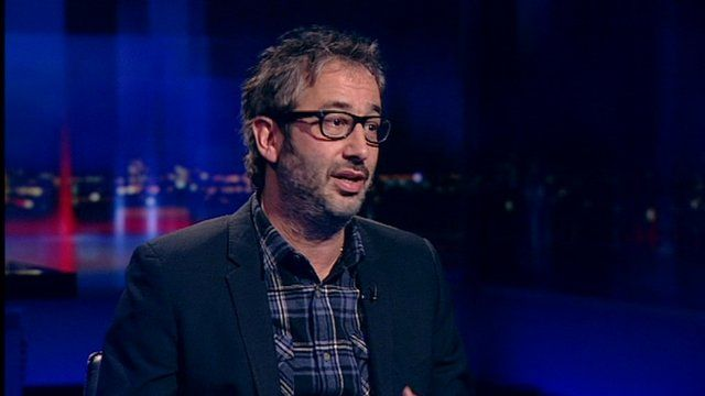David Baddiel on the set of Newsnight