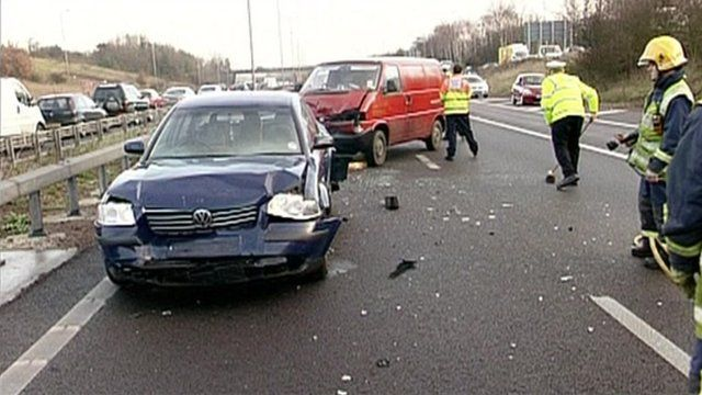 Crashed cars on motorway