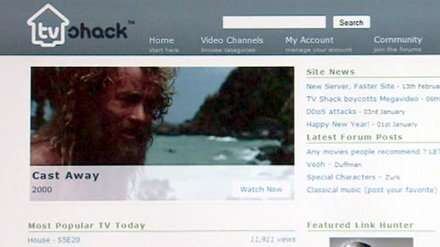 Screen grab from TVShack.com before it was shut down
