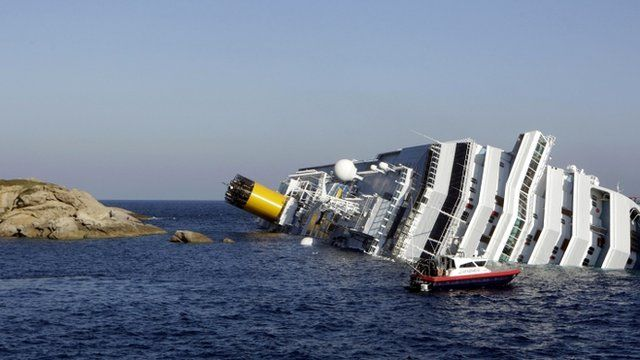 The Costa Concordia lies on its side