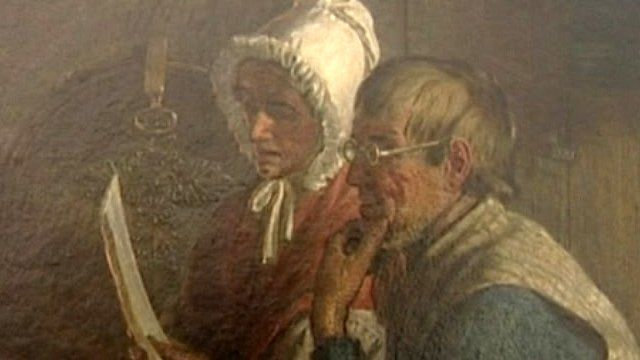 Painting depicting pit disaster bereaved