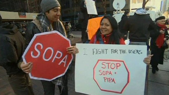 Protesters against the anti-piracy bills in New York