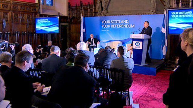 First Minister Alex Salmond speaks in Edinburgh Castle
