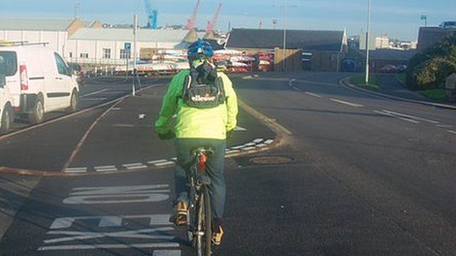 A cyclist on part of the track