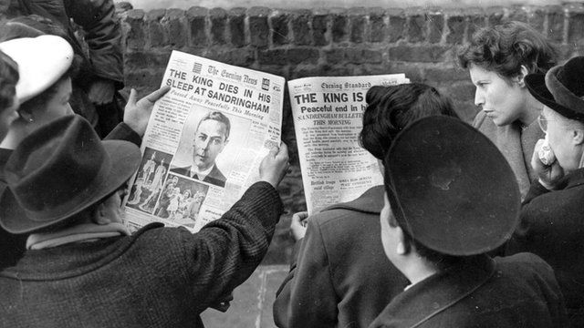 The BBC's formal announcement that King George VI had died in his sleep