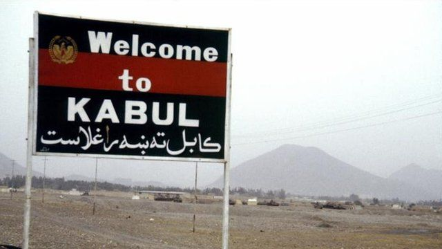 """Sign which says """"Welcome to Kabul""""."""