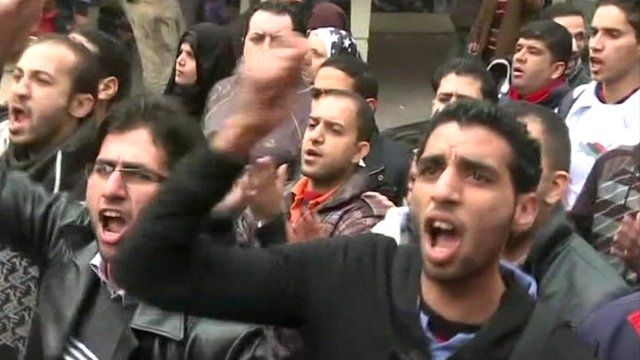 Protests in Cairo on Thursday after the clashes