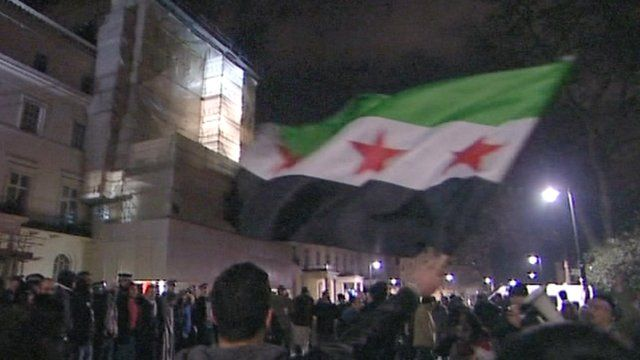 Protesters at the Syrian embassy in London