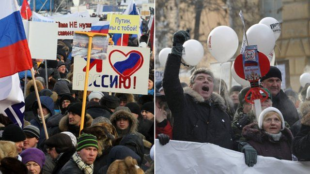 Pro and anti Putin rallies