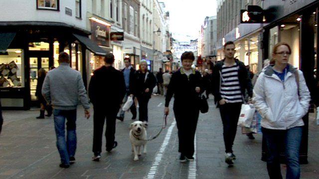 People walking in St Helier