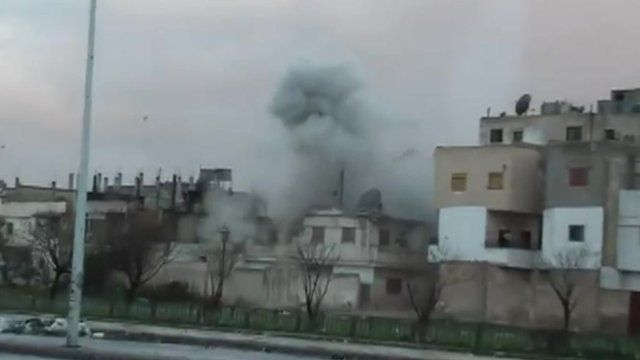 Amateur video of an explosion in Syria