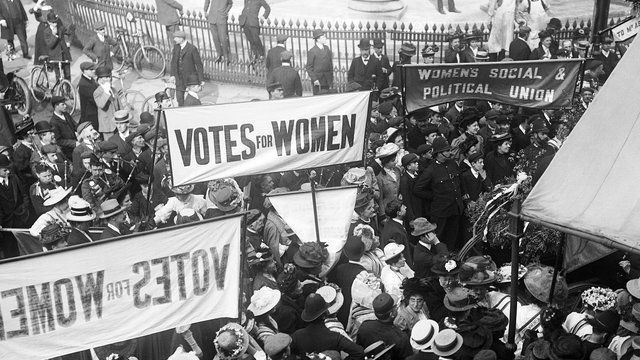 A suffragettes protest meeting in central London
