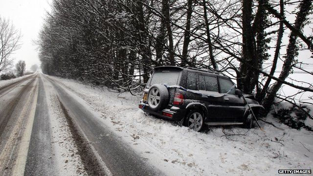 Car that has collided with a tree in snowy weather