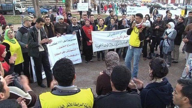 A small protest in Morocco