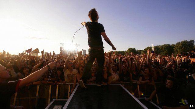 "Damon Albarn of Blur in concert at London""s Hyde Park in 2009"