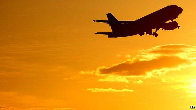 Plane leaving Newcastle airport