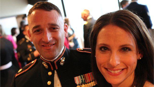 US Marine and companion at reception