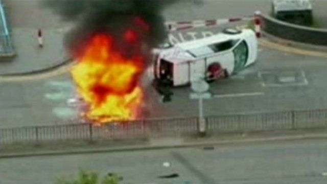BBC radio car attacked by rioters in Salford