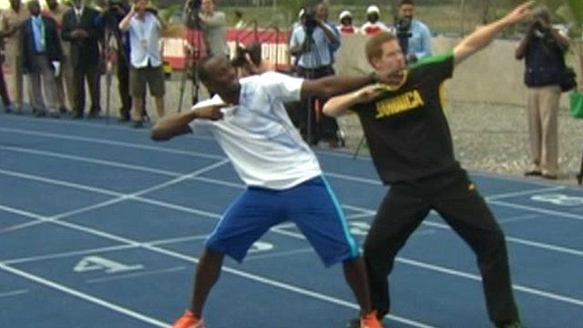 Usain Bolt and Prince Harry pose in Jamaica