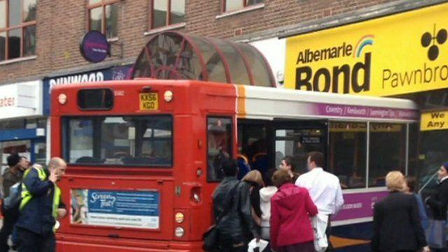 Passengers exit crashed bus