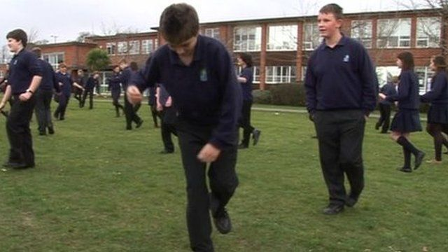 Pupils at Priestlands school making the record attempt