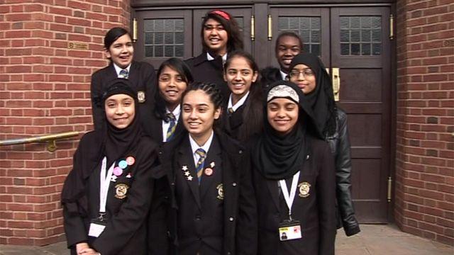 Pupils from Holyhead School