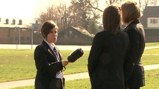 Students at Horbury School being interviewed