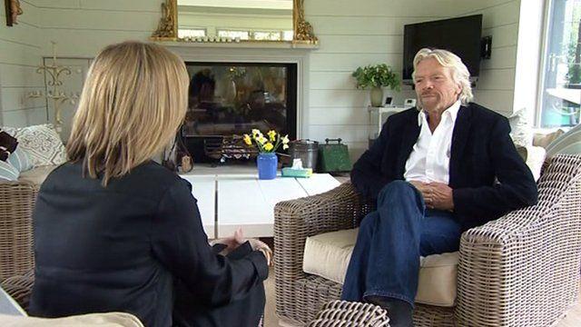 Political editor Louise Stewart with Sir Richard Branson
