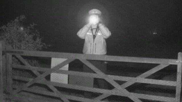 Policeman with night goggles