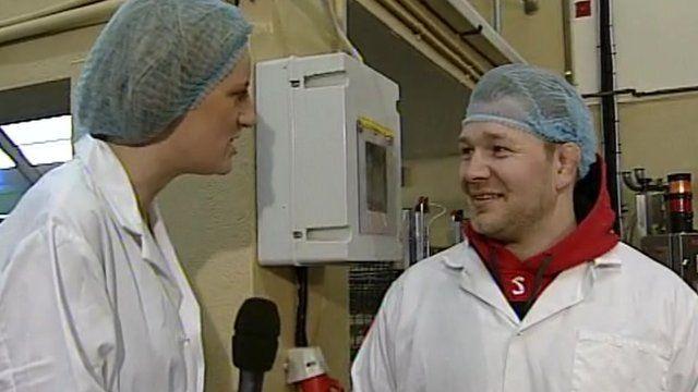 Steph McGovern talks to ice cream factory worker Steve