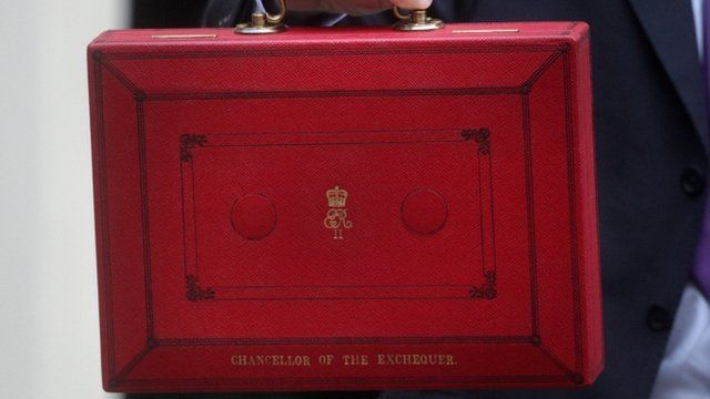 The Chancellor of the Exchequer's red Budget briefcase