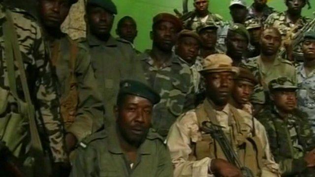 Rebel troops on Malian state TV
