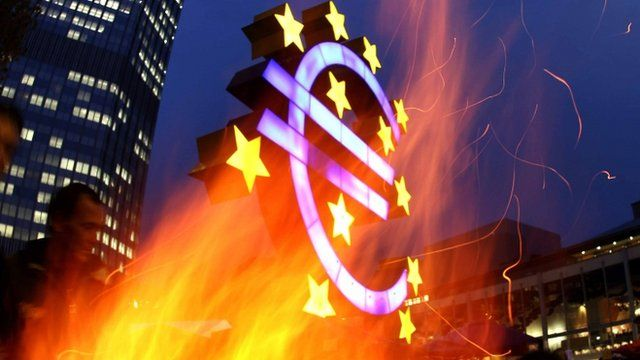 Activists of the Occupy Frankfurt Movement set up a fire near the European Central Bank.