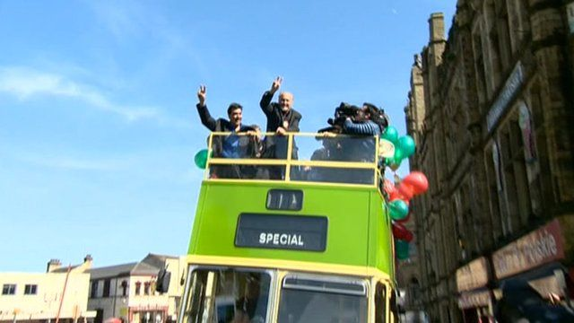 George Galloway on celebrator bus tour