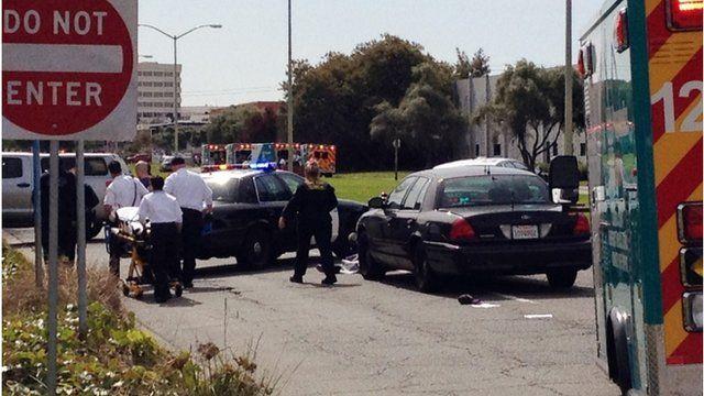 Police outside Oikos University, Oakland