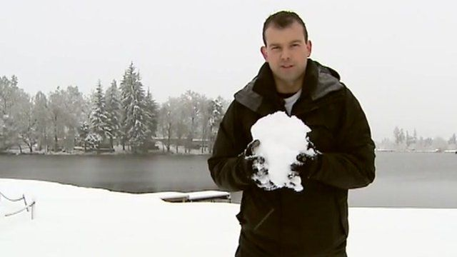 James Cook with large snowball in Aboyne