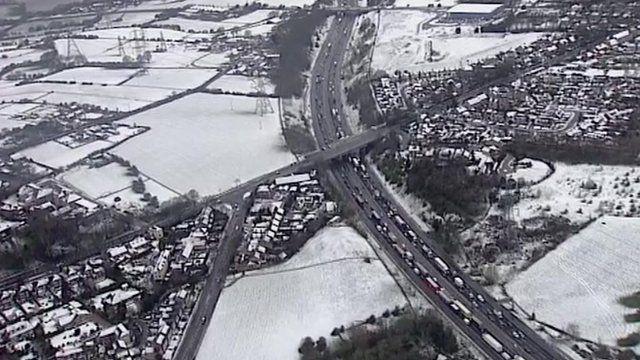 A snowy M62 motorway