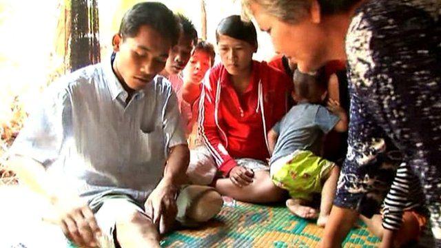 A landmine victim in Cambodia