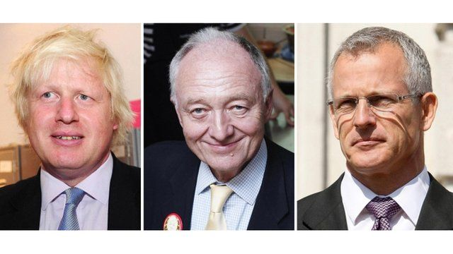 London mayor candidates Boris Johnson, Ken Livingstone and Brian Paddick