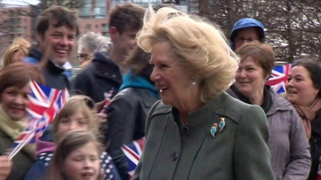 Crowds greet the Duchess of Cornwall on her visit to Liverpool