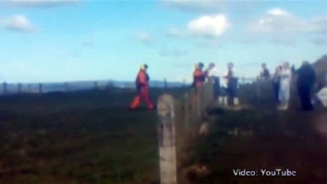 Helicopter crew meet butchers on Orkney