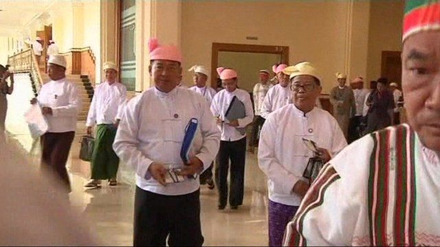 Members arrive for the opening of Burma's parliament