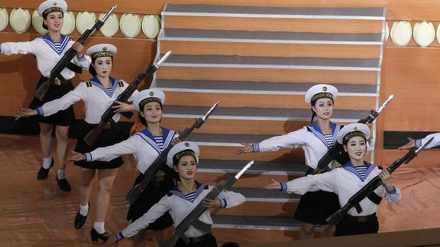 Military performers take part in a concert marking the 80th anniversary of the founding of the North Korean army
