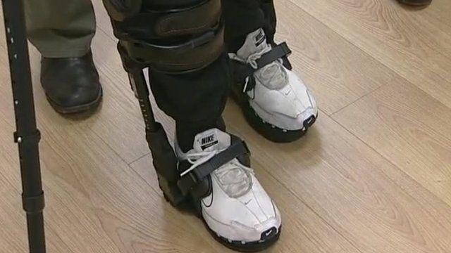 Crash victim walking in bionic suit