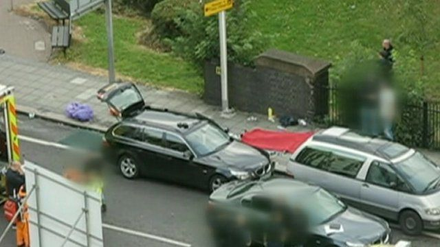 Still from video footage showing the aftermath of the police shooting of Mark Duggan