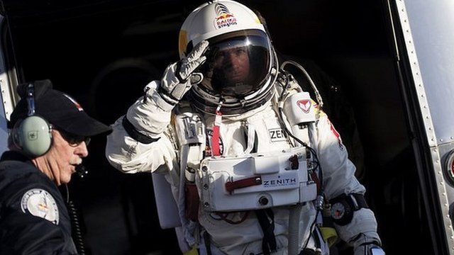 Felix Baumgartner in his space suit ready to jump