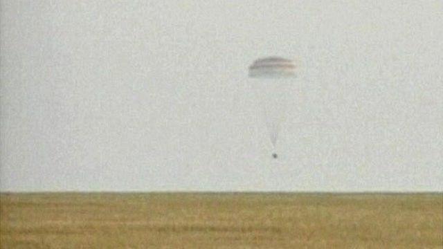 Soyuz capsule parachutes down to ground