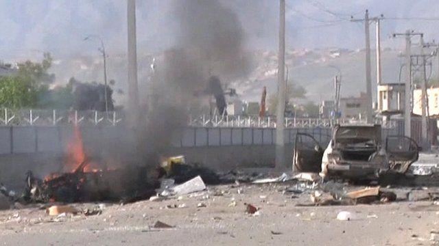 Burning car in Kabul