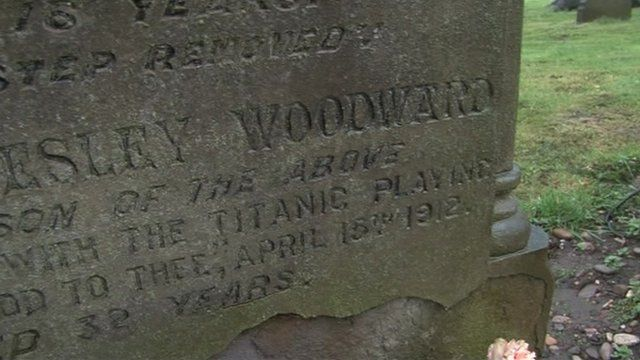Memorial stone to John Wesley Woodward, cellist on the Titanic
