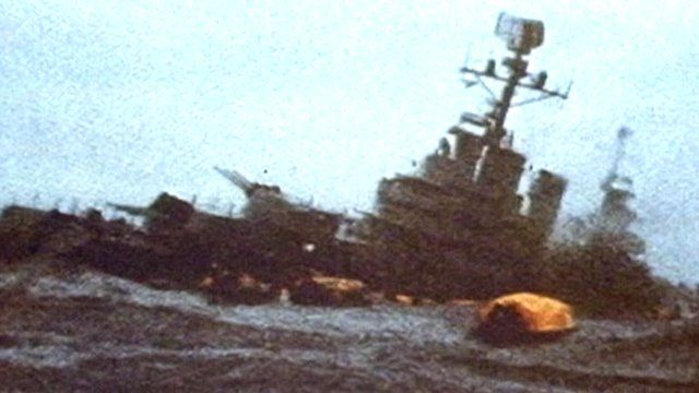 Archive footage of the General Belgrano sinking